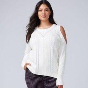 Lane Bryant cream cold shoulder sweater.